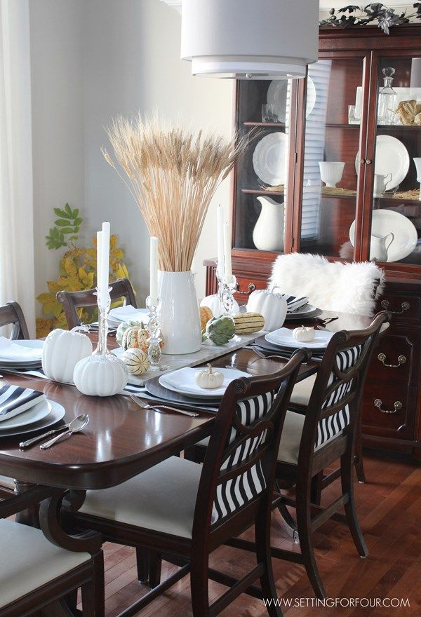 25 best ideas about fall dining table on pinterest farmhouse chairs dining room wall decor - Fall dining room table decorating ideas ...