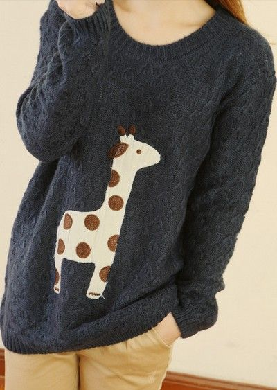 Black Cute Giraffe Pattern Sweater. He's so adorable I think I actually wear this