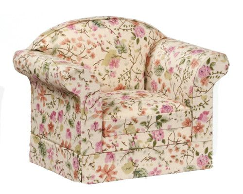 Traditional Floral Overstuffed Chair - Floral- Pink, Orange, and Green