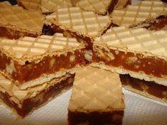 Prajitura cu foi de napolitane si crema caramel