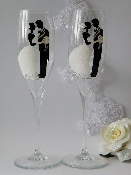 Hand painted Wedding Toasting Flutes Set of 2 Personalized Champagne glasses Groom and Bride White classic by ginta.barisa