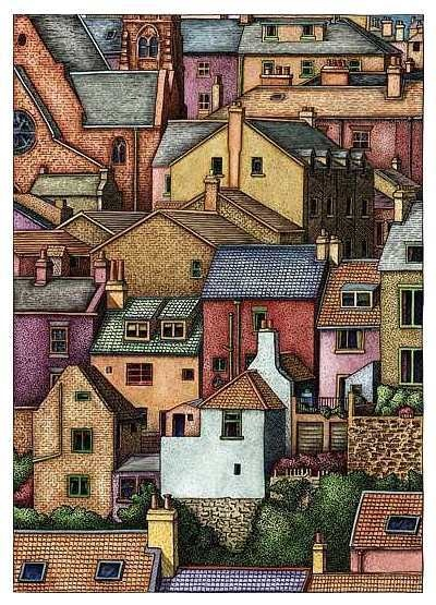 Houses in Whitby, North Yorkshire (Pen, Ink and Watercolor): this is a drawing lesson on the Artyfactory site.