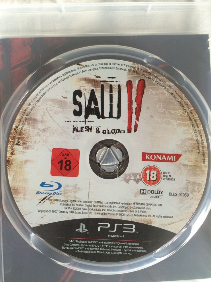 Saw II Flesh & Blood game disc.