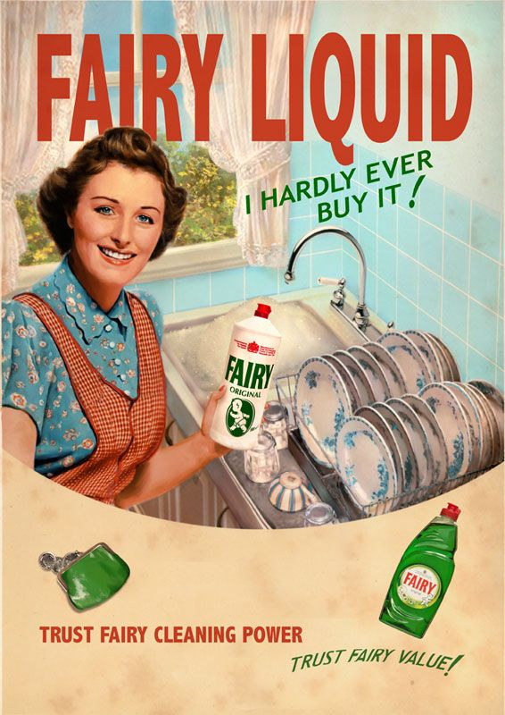click to enlarge illustration  fairy liquid - advertising - vintage poster