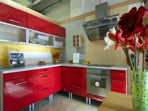 Red Metal Kitchen Cabinets