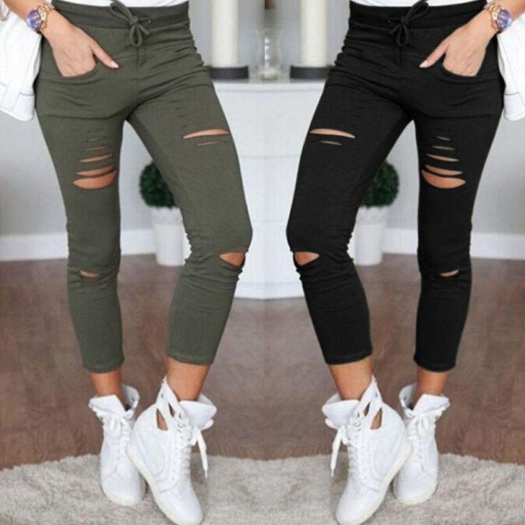 COCKCON Women Denim Skinny Cut Pencil Pants High Waist Stretch Jeans Trousers Cotton Drawstring Slim Leggings  #beauty #jewelry #hair #fashion #makeup #outfitoftheday #purse #cute #styles #stylish #style #outfit #model #beautiful #jennifiers