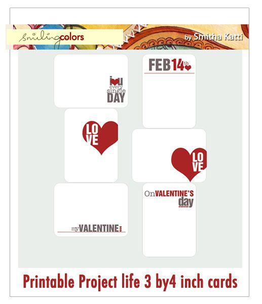 freebies: Free Valentines, Inch Printables, Valentine Cards, Valentines Cards, Project Life Cards, Free Printables, Projectlife, Freebie Valentines