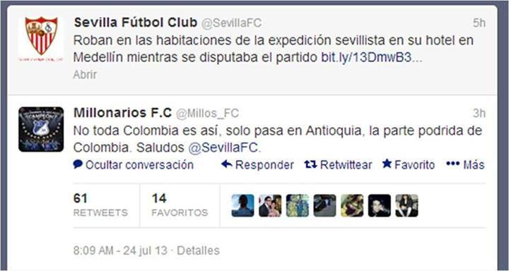 ¿Qué respuestas das en nombre de la cuenta que manejas? Esta es la del CM del equipo de fútbol Los Millonarios.