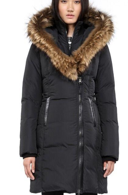 Mackage Long Black Winter Down Coat with Fur Trimmed Hood