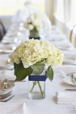 White Hydrangea in a short vase with a ribbon to match the bridal colors is smart, elegant and affordable. A perfect solution for DIY wedding flowers.: Hydrangeas Centerpieces, White Flower, Idea, Weddings Centerpieces, Low Centerpieces, Simple Centerpieces, Navy Ribbons, Wedding Centerpieces, White Hydrangeas