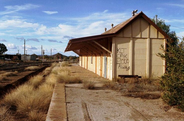 Old Broken Hill train station, in use until 1956 and now derelict. A new station is further along.