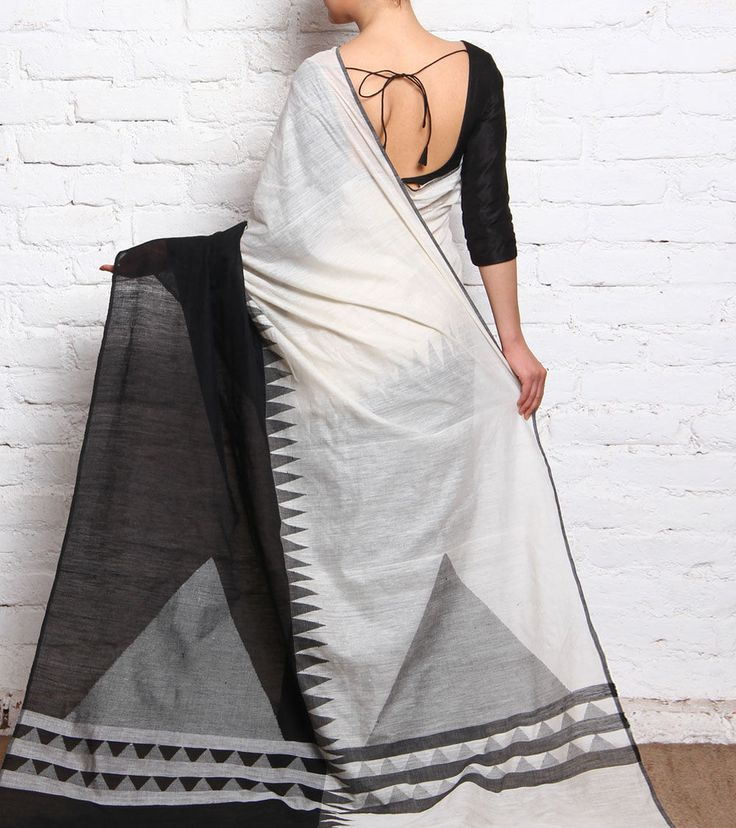 Black & White Hand Woven Khadi Cotton Dhakai Jamdani Saree