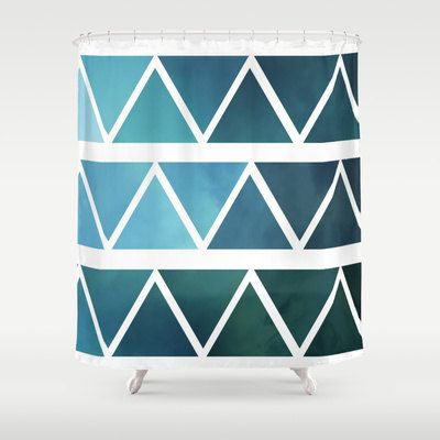 Shower Curtain - Blue Triangle Art - Modern Art - Shades of Blue - Blue Home Decor -  Made to Order