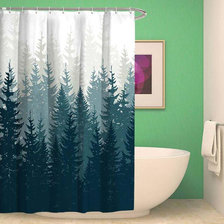 Modern Shower Curtain with Tree Shadow Motif Waterproof and anti-mold  – Duschvorhänge