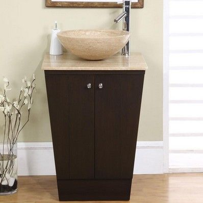 "Petite 22"" Modern Single Sink Bathroom Vanity, Travertine Top by Silkroad exclusive 