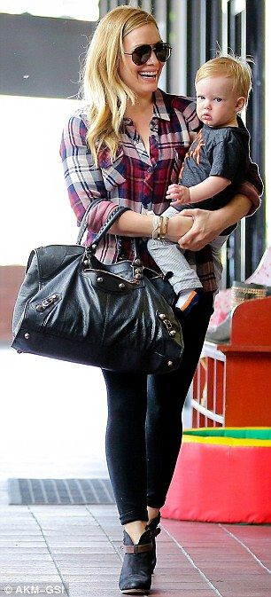 Hilary Duff dressed for comfort in a casual chic outfit, so she could have fun with her son