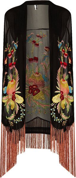 Floral Embroidered Kimono.  I'd wear it with blue jeans, a long sleeve black scoop neck t-shirt, and a statement necklace.