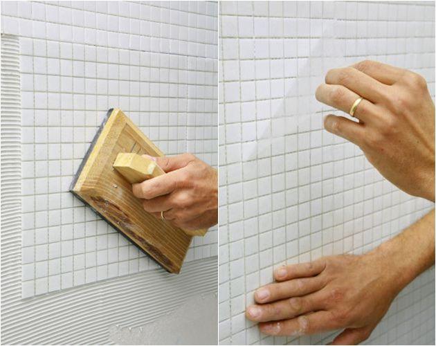 A pastilha de vidro pode ser assentada com aregamssa colorida ou branca.