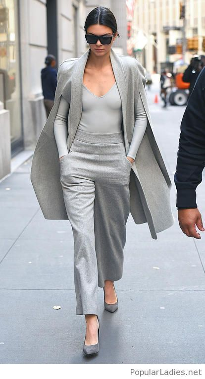 All grey outfit with pants, blouse and coat