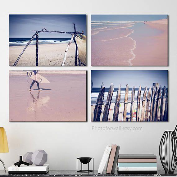 Beach Bathroom wall decor set of 4 prints of beach