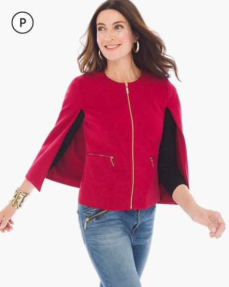 """The universal symbol of chic. This beautifully constructed cape has the perfect toss-it-on silhouette with the polish of high-shine gold-tone hardware.  Full zipper closure.   Zippered pockets.   Regular Length: 22"""".   Petite Length: 20"""".   Rayon, nylon and spandex.   Machine wash. Imported."""