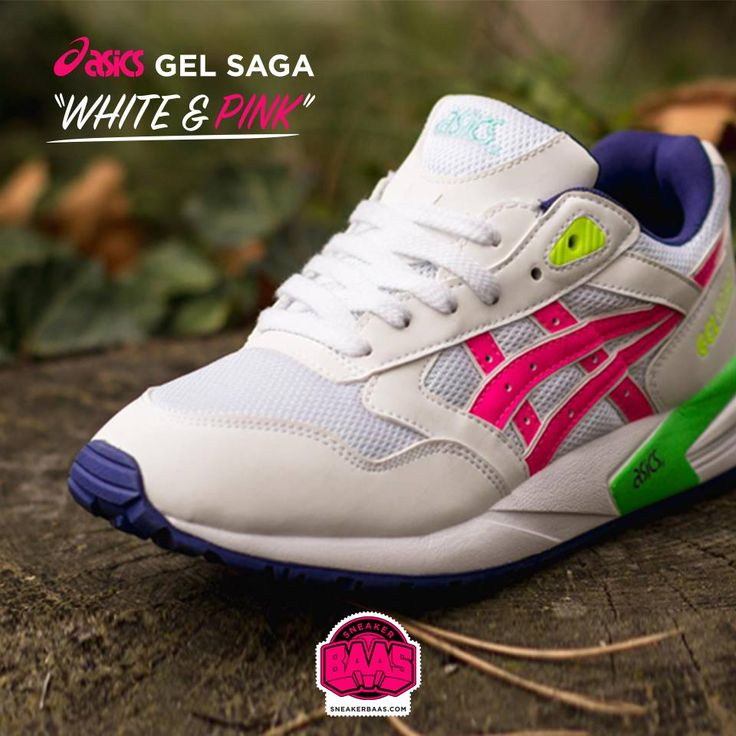"""#asics #gelsaga #white #pink #sneakerbaas #baasbovenbaas  Asics Gel-Saga """"Withe & Pink"""" - Available now € 109,95  For more info about your order please send an e-mail to webshop #sneakerbaas.com!"""