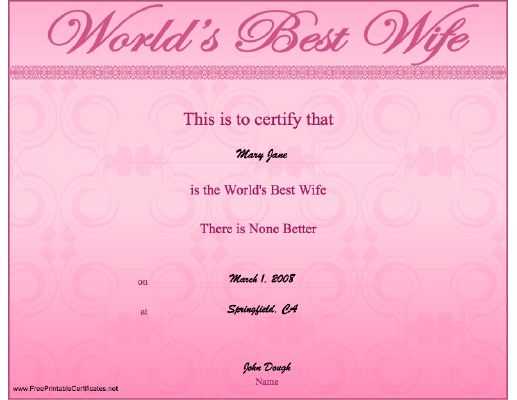 A pretty pink certificate for a husband to present to the ...