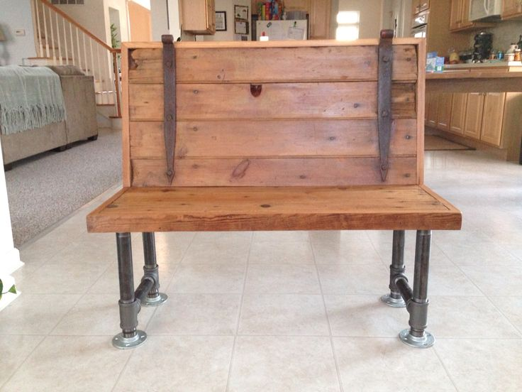 Old barn door bench