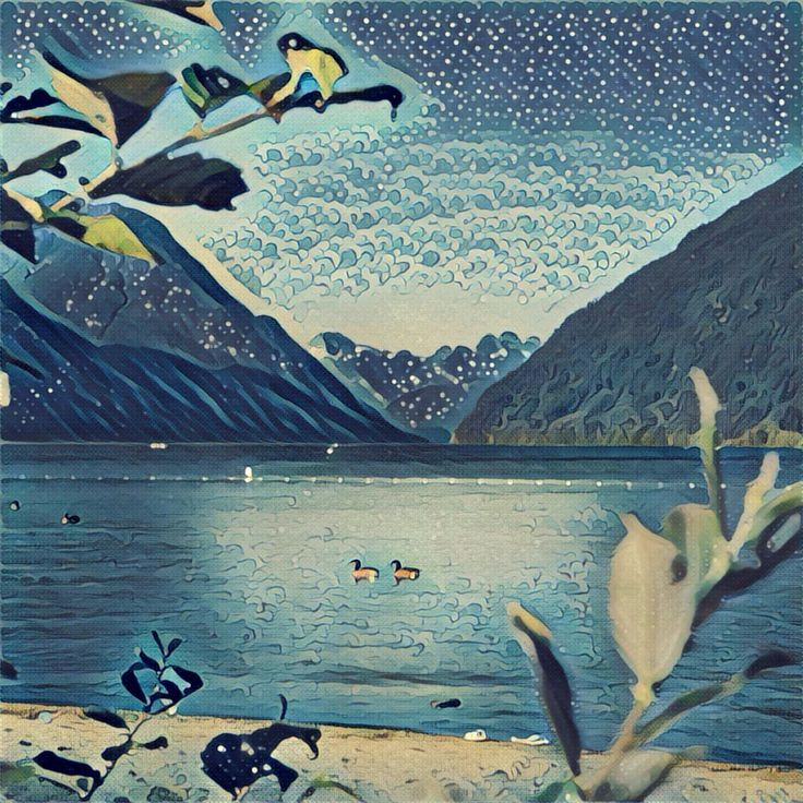 The Quiet Lake. This #painting was made from a simple photo with a #Prisma app. #art #illustration #lake #drawing