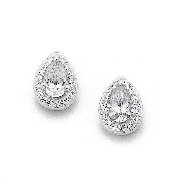 Sterling Silver Cubic Zirconia Cluster Earrings