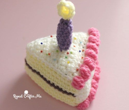 Crochet Slice of Birthday Cake - Repeat Crafter Me