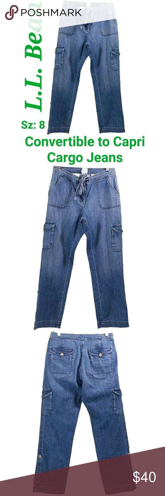 27 x 30 Waist Tie Womens LL Bean Medium Wash Cargo Convertible Capri Jeans Size: 8 (27x30)  About this item: Excellent Condition Cargo Convert to Capri 99% Cotton 1% Spandex  Size: 8 Waist: 27 Inseam: 30 Rise: 9.5 L.L. Bean Jeans