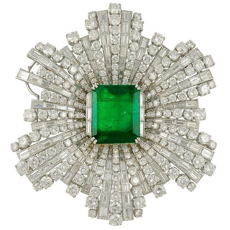 Harry Winston Emerald Diamond Brooch | From a unique collection of vintage brooches at http://www.1stdibs.com/jewelry/brooches/brooches/
