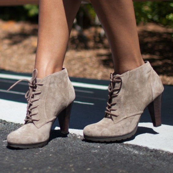 <b>Lace-up ankle boot featuring intricate stitching detail.   </b>Step out in these gravity defying leather lace up booties that won't be ignored! Team with this season's skinny jeans and a cute shirt to complete your look. Heel height: 3.5 inches  Shaft height:  3.5 inches