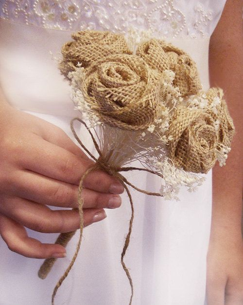 NEW Bridesmaid & Groomsman Set, Burlap Country Flower Wand Bouquet with Matching Boutonniere. Made to Order.