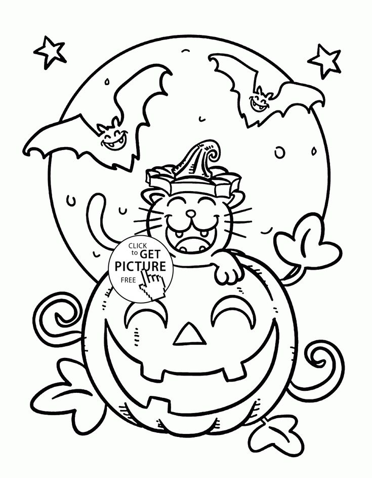 funny halloween cat and bats coloring pages for kids pumpkin printables free - Cute Halloween Bat Coloring Pages