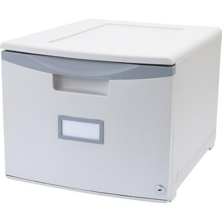 Storex Single-Drawer Mini File Cabinet with Lock, Legal/Letter
