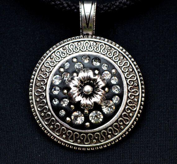 BLACK DAHLIA pendant necklace by SilverArti on Etsy
