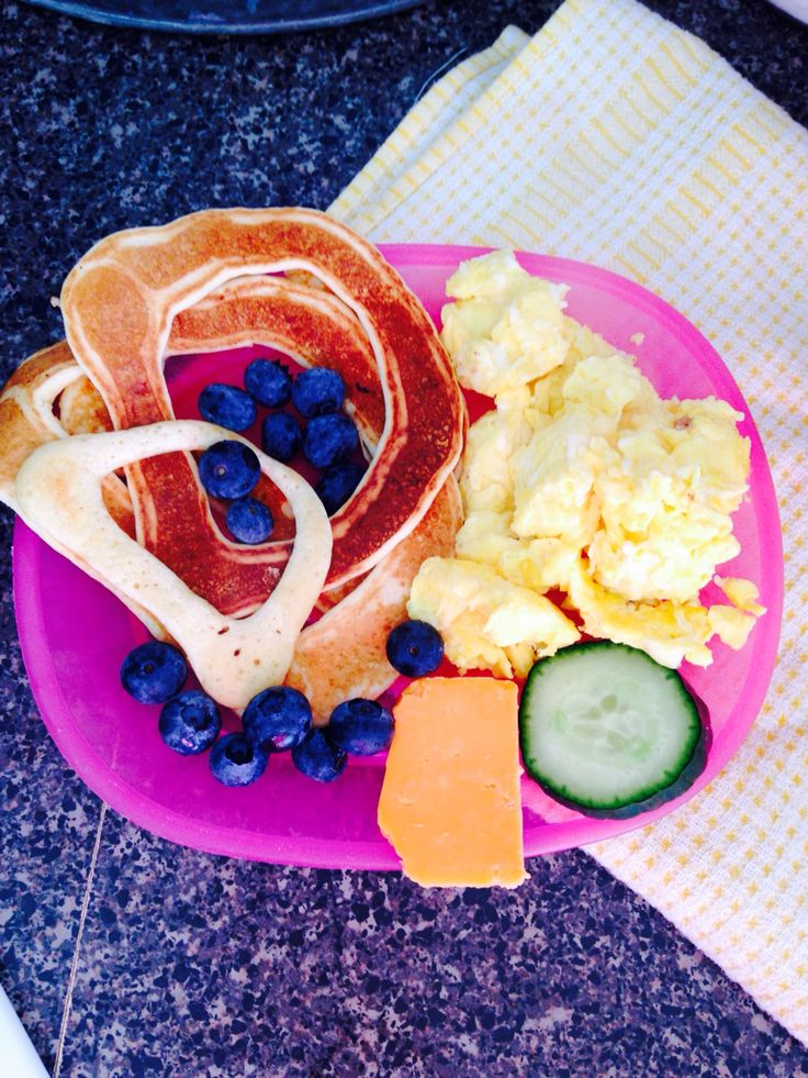 Daycare lunch today! Letter pancakes were so much fun!