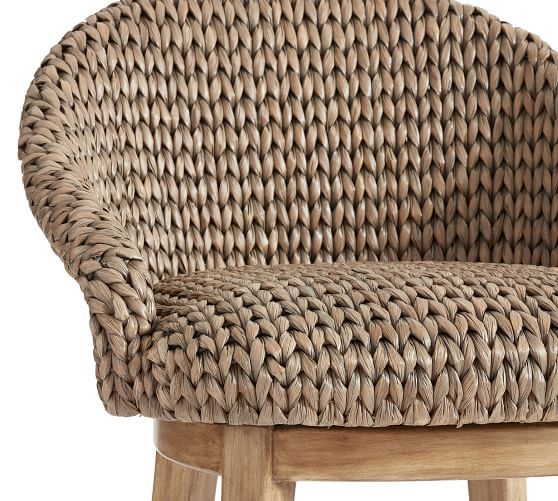 Seagrass Bucket Swivel Counter Stool Pottery Barn In