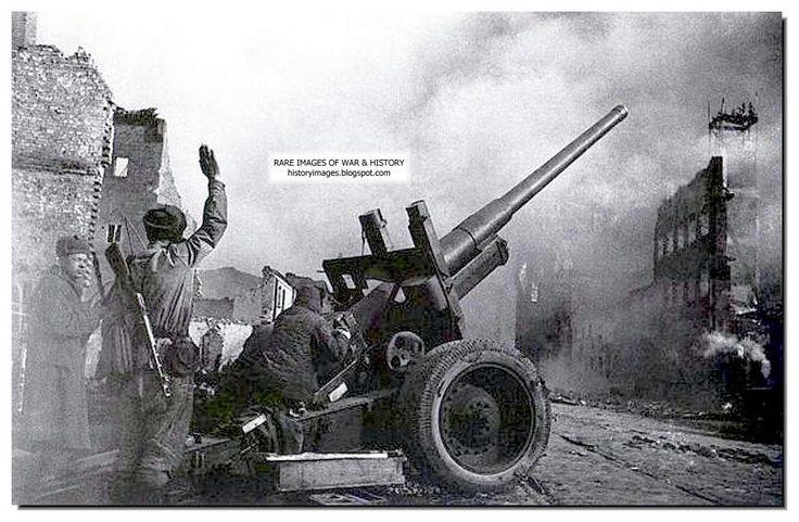 A Russian gun fires in Danzig. 1945