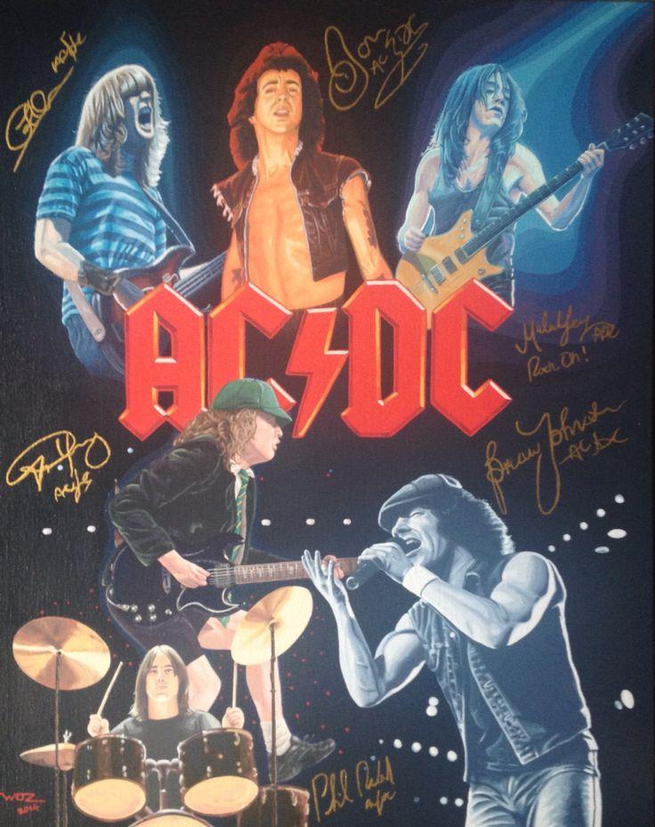 Artist WOZ fine art painting 'AC/DC 1' acrylic on canvas 16x20 inches.