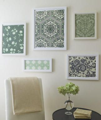Framed fabricGuest Room, Wall Art, Wall Decor, Decor Ideas, Wall Hanging, Crafts Room, Frames Fabrics, Scrapbook Paper, Pictures Frames