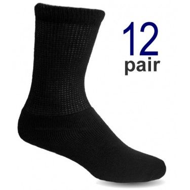 Men's Black Diabetic Crew Socks Loose fitting socks that stay up at www. 3tailer.