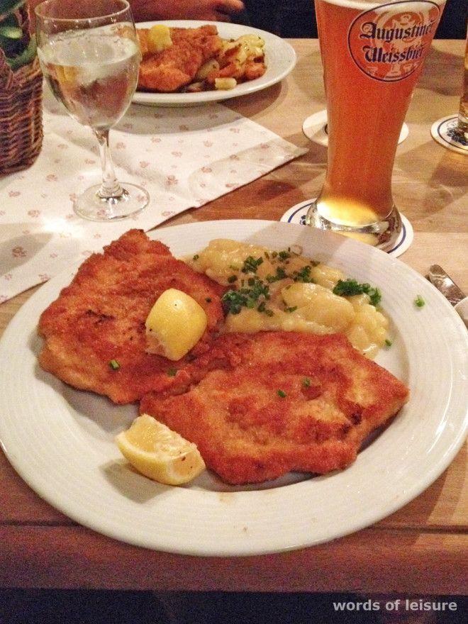 O schnitzel de porco - bife à milanesa - foi um dos típicos pratos alemães que eu mais gostei. Acompanhado por uma kartoffelsalat fica delicioso. Foto: Arquivo Pessoal.
