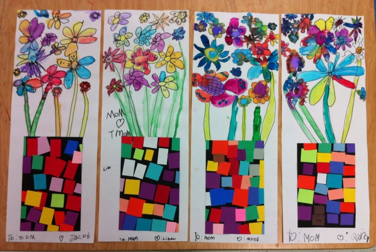 Watercolor Flowers Amp Paper Collage Vases Apex Elementary Art Art Class Elementary Art