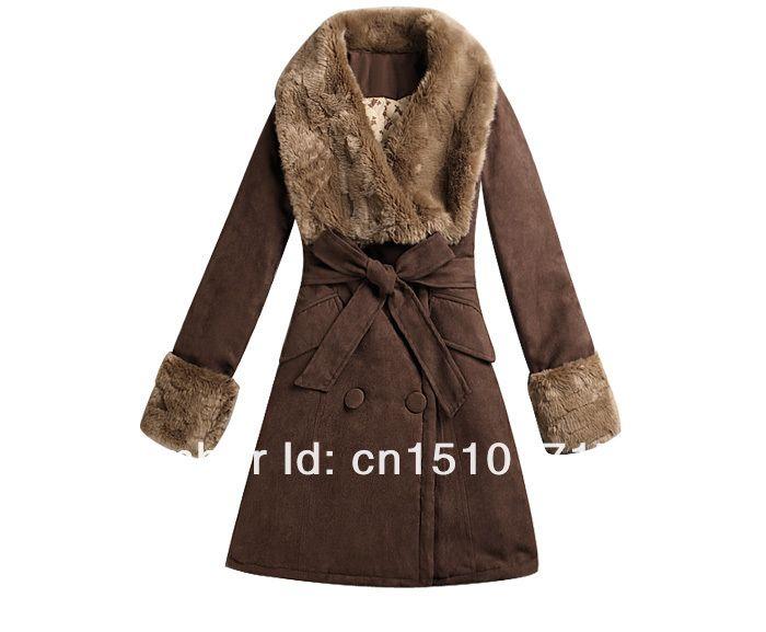 Пальто хлопок длинная, женщины зима Double breasted / корейский роскошь мех воротник большие нагрудные приталенный с ремень купить на AliExpress
