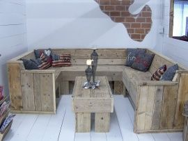 U bank + tafel complete set van oud steigerhout (18220141616)   Lounge-banken & stoelen   JORG`S Houten Meubelen