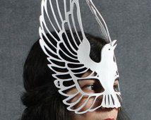 Raven lederen masker in wit