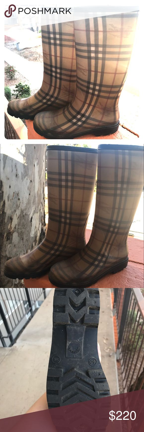 BURBERRY HOUSE CHECK RAIN BOOTS Tan Burberry round-toe rain boots with House check print throughout and block heels. Small calf. Heels: 1 inch. Burberry Shoes Winter & Rain Boots